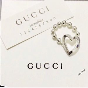 New Authentic GUCCI Toggle Heart Ring Size 7